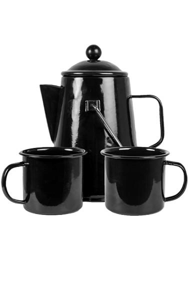 Kaffeeset Stahl emailliert dreiteilig